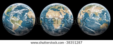 Set of planet earth with halo on Black background - Ready for your artwork and creation