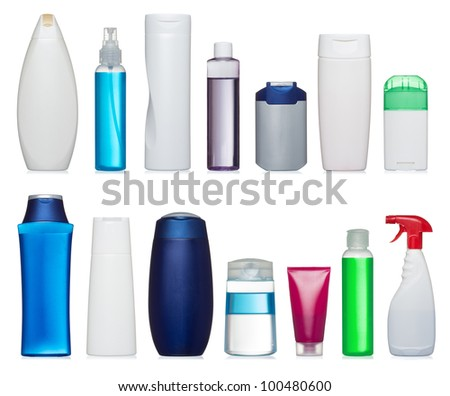 Set of plastic bottles of body care and beauty products - stock photo