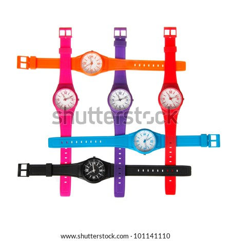 set of plastic wrist watches isolated on white - stock photo