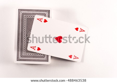 Set of playing cards. Old family game.