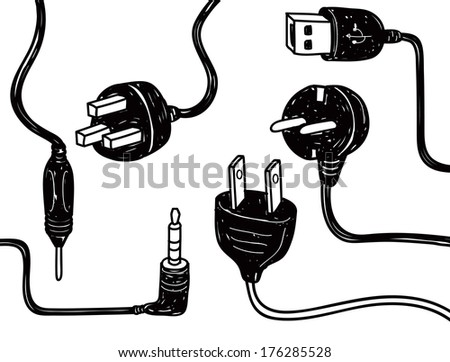 set of plug in socket in doodle style - stock photo