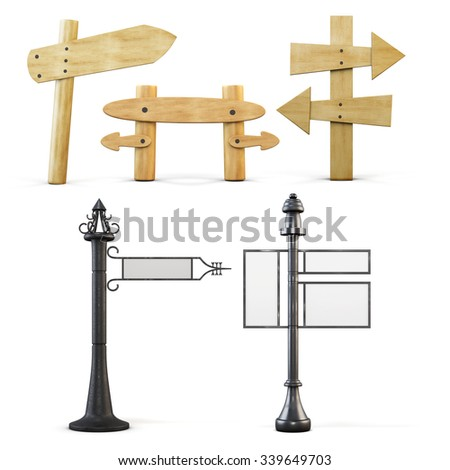 Set of pointers and sign boards of the road isolated on white background. 3d illustration.