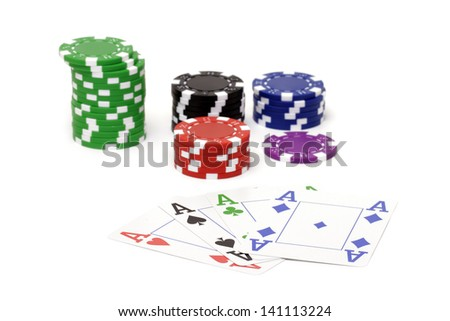 Set of poker chips and cards  on white