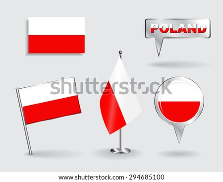 Set of Polish pin, icon and map pointer flags. Raster version - stock photo