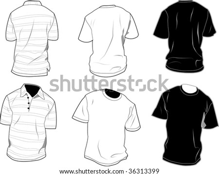 Set of polo and shirt, front and back, black and white. - stock photo