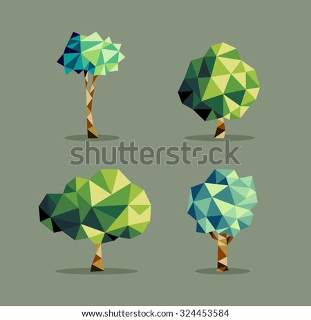 Set of polygonal origami polygonal tree icon illustration. Ideal for web icon, ecology brochure and botany book cover.  - stock photo