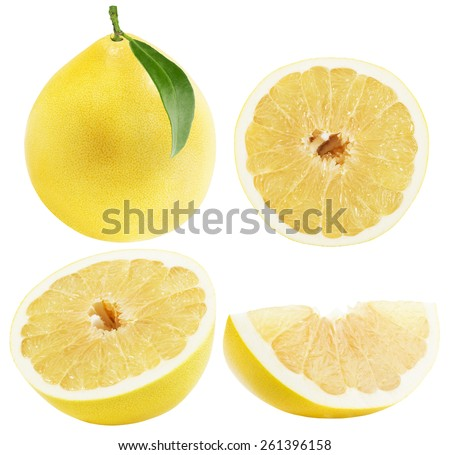 set of Pomelo or Chinese grapefruits isolated on the white background - stock photo