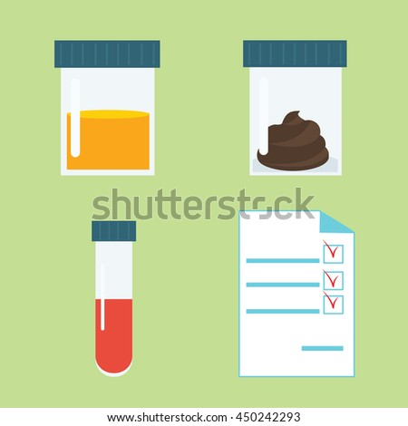 Set of popular medical tests: blood, urine, feces in container. Medical analysis illustration in flat style