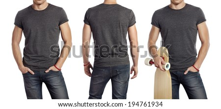 Set of portraits of a man wearing blank dark grey t-shirt - stock photo