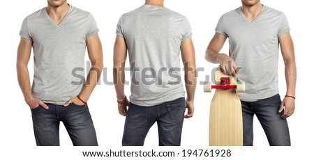 Set of portraits of a man wearing blank grey t-shirt - stock photo