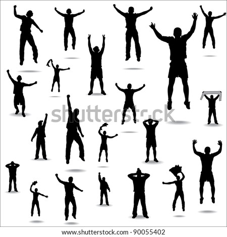 Set of poses from fans for sports championships and music concerts. - stock photo