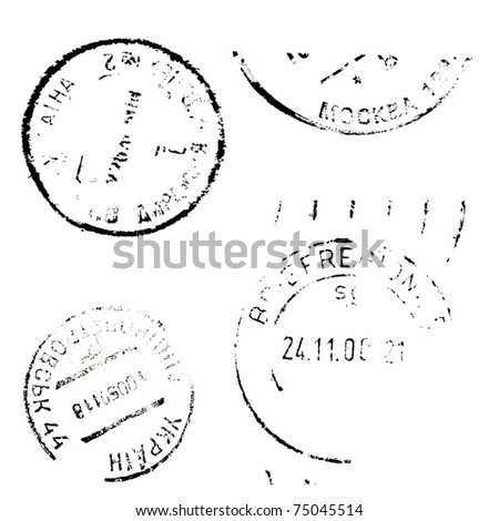 Set of postal marks on a white background - stock photo