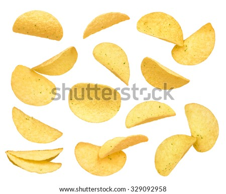 Set of potato chips close-up isolated on a white background - stock photo