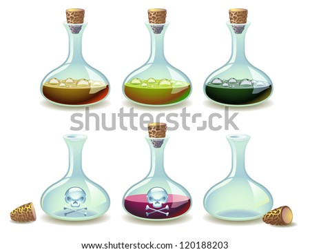 Set of potions and empty vials