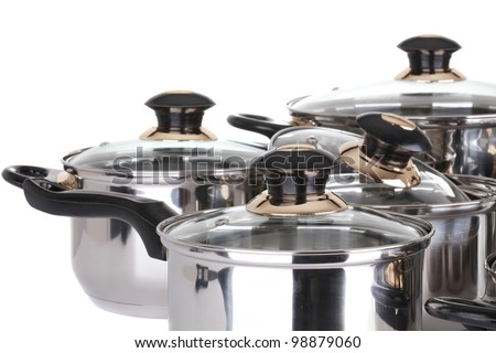set of pots and pans - stock photo