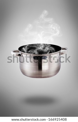 set of pots and pans - cooking vegetables with a pan