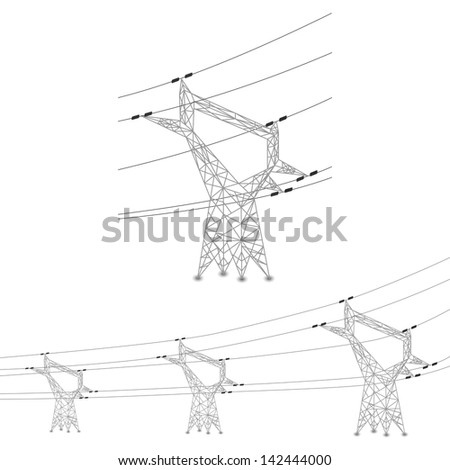 Set of power lines and electric pylons illustration - stock photo