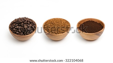 Set of preparing roasted coffee beans, granulated coffee and coffee powder in wooden bowl on white background. - stock photo