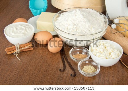 Set of products for dough on a table