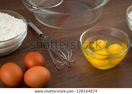 Set of products for preparation of pancake dough