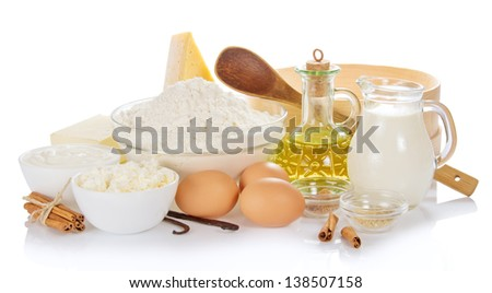 Set of products for the baking, isolated on white