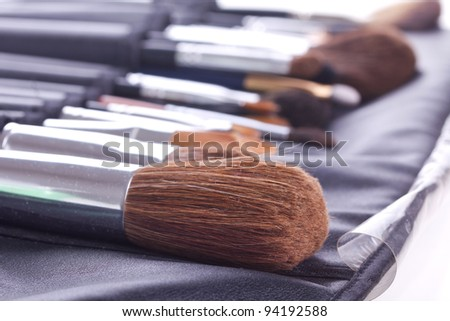 Set of professional make-up brushes in case