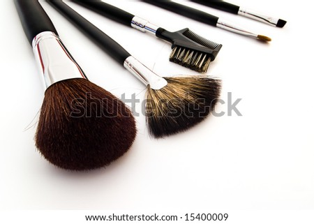set of professional makeup brushes on white background