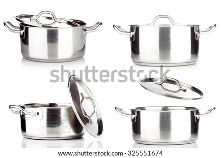 set of professional metal pot cooker for boiling isolated - stock photo