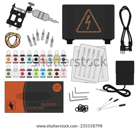Set of professional tattoo equipment: tattoo machine, power supply, cord, rubber bands, different type grips, needles, footswitch, pack of black gloves, allen keys, grommet, cleaning tools. Raster - stock photo