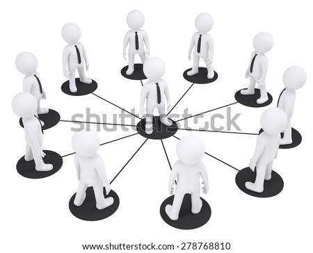 Set of puppet people around one puppet on isolated white background, side view - stock photo