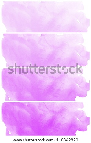 Set Of Purple Abstract watercolor background - stock photo