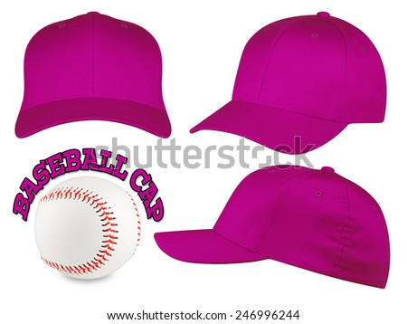 Set of purple baseball caps with baseball - stock photo