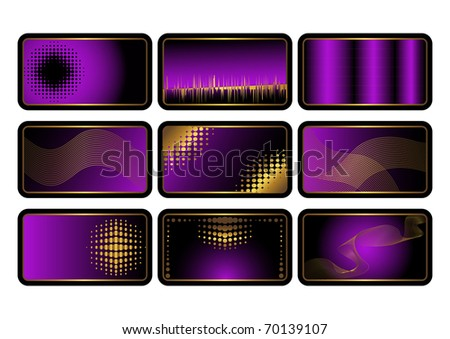 Set of purple credit cards  with golden ornaments. The similar image in my portfolio in vector format. - stock photo