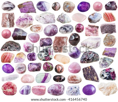 set of purple natural mineral stones and gemstones isolated on white background - stock photo