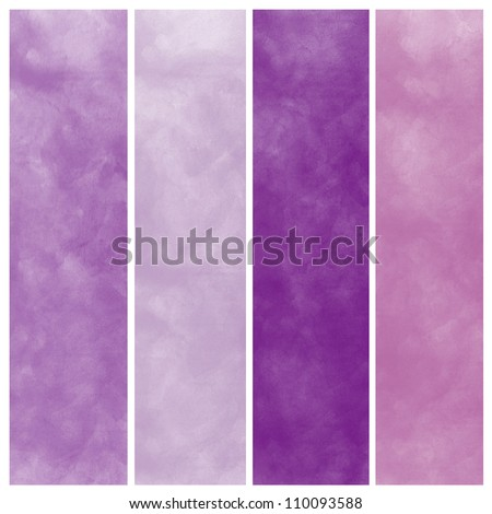 Set of purple watercolor abstract hand painted backgrounds - stock photo
