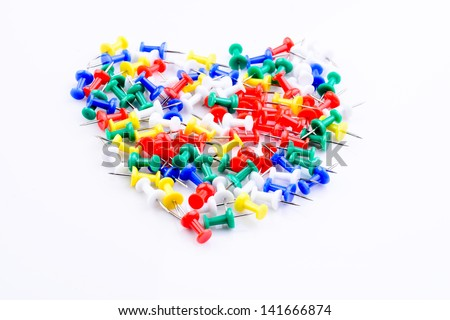 Set of pushpin in heart shape for love concept - stock photo