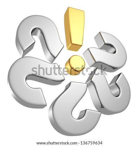 set of question marks with solution golden exclamation mark - stock photo