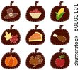 Set of quilted Thanksgiving icons (jpg); Eps10 version also available - stock photo