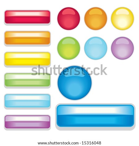 Set of rainbow colored shiny web 2.0 style buttons