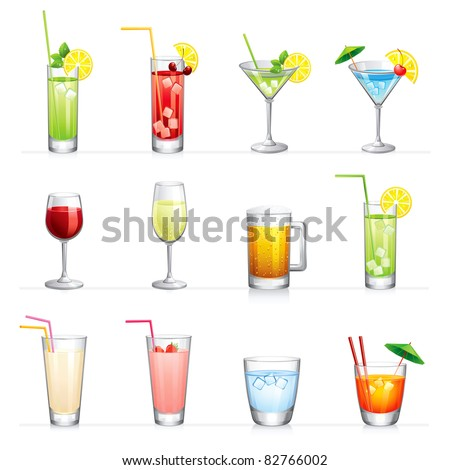 Set of raster illustration of different drinks and cocktails.Isolated on white. - stock photo