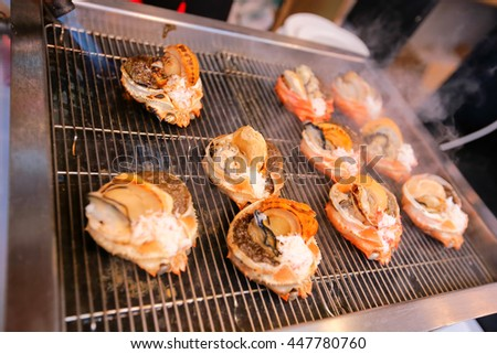 Set of raw seafood for grill  - stock photo