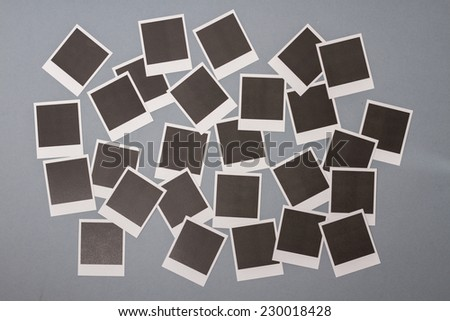 Set of real blank instant photo frames - stock photo