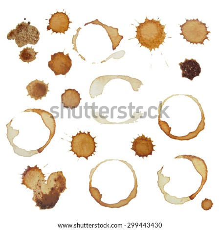 Set of real coffee stains and spots for design - stock photo