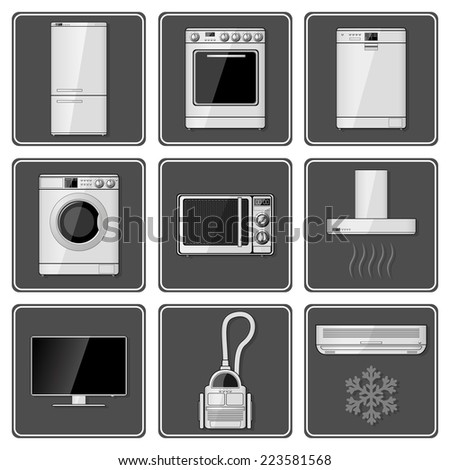 Set of realistic household appliances.  - stock photo