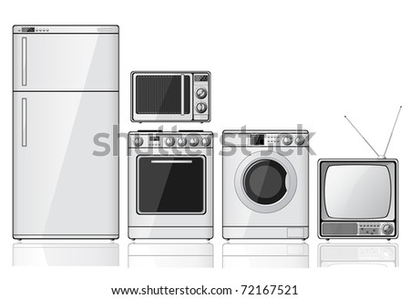 Set of realistic household appliances over white background. Raster version of the illustration. - stock photo