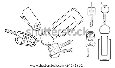 Set of realistic keys icons: remote car starter, usb flash drive, leather trinket, group of house keys. Contour lines illustration isolated on white