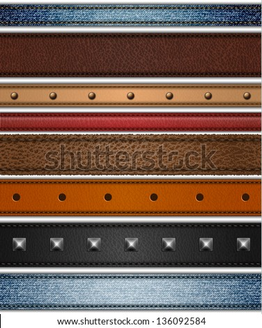 Set of realistic leather, shammy and jeans stripes - raster version - stock photo