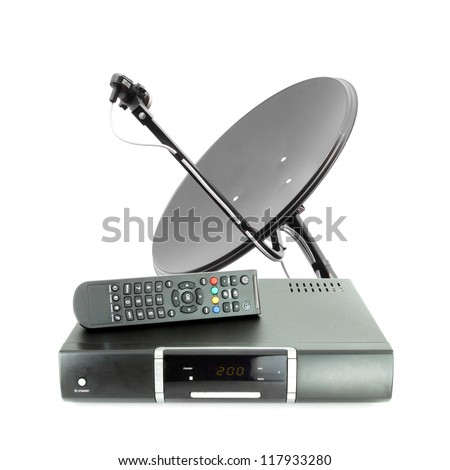 Set of receive box remote and dish antenna on white - stock photo