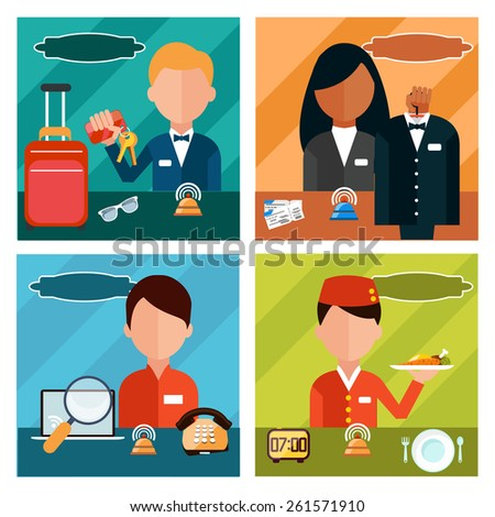Set of reception character in different interactive places in hotel, restaurant, theater. Portrait of receptionist in flat design style on four banners . Raster version - stock photo