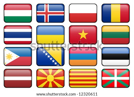 Set of rectangular flag buttons representing some of the most popularly used languages. - stock photo